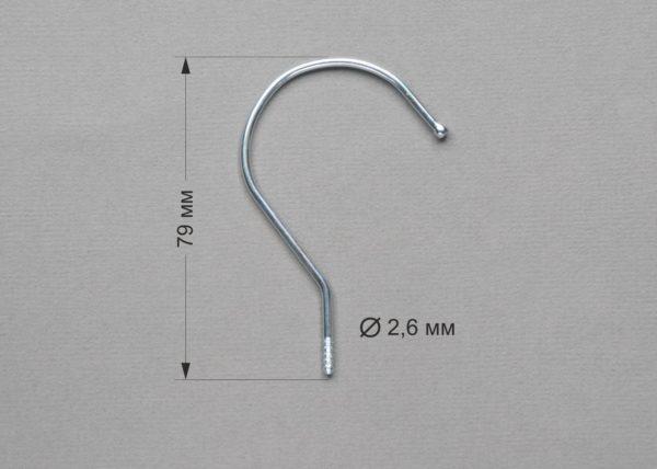 Крючок металлический KS-79х2.6 цвет серебро